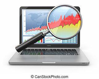 zakelijk, analyze., draagbare computer, loupe, en, diagram, op, scherm