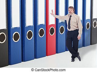 zakelijk, archief, folders, -, het behouden, data,...