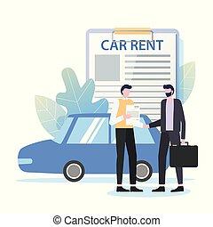 zakelijk, auto, reizen, huren, zakenman, handelaar