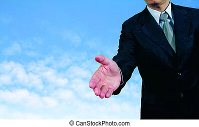 zakelijk, bebouwd, hand, zich uitstrekken, schudden, man, aanzicht