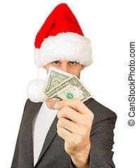 zakelijk, begroting, santa, hoedje, kerstman, crisis, man