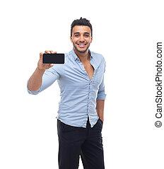 zakelijk, beweeglijk, foto, mobiele telefoon, nemen, man, glimlachen, mooi, het tonen, smart, vrolijke