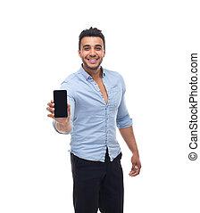 zakelijk, beweeglijk, mobiele telefoon, man, glimlachen, mooi, het tonen, smart, vrolijke