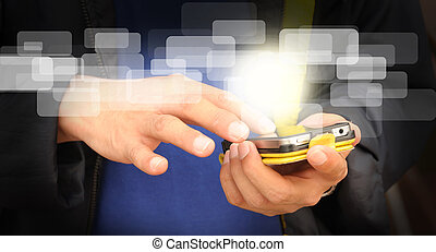 zakelijk, beweeglijk, scherm, hand, telefoon, beroeren, man