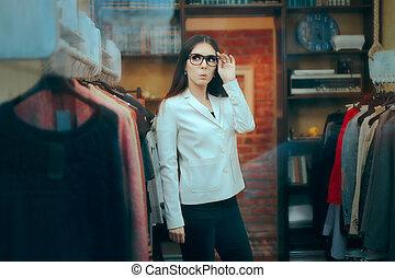 zakelijk, binnen, baas, ondernemer, vrouwlijk, eigenaar, kleine, winkel