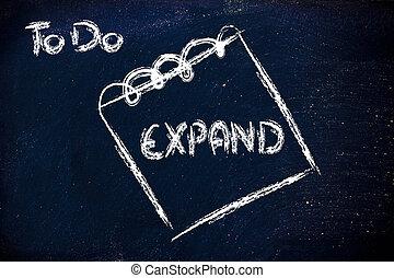 zakelijk, bord, memorandum, veeleisend, uitbreiding,...