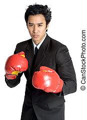 zakelijk, boxing, vrijstaand, handschoen, kostuum, man