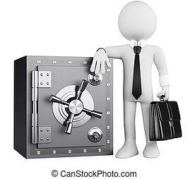 zakelijk, brandkast, mensen., bankier, 3d, witte