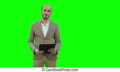 zakelijk, chroma, jonge, scherm, groene, key., vervaardiging, het glimlachen, presentatie, man