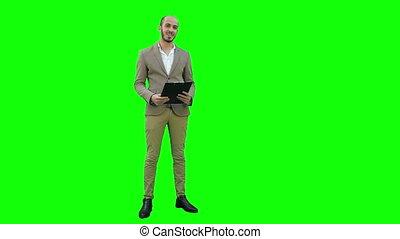 zakelijk, chroma, jonge, scherm, groene, key., vervaardiging, man, presentatie, vrolijke