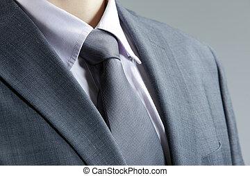 zakelijk, classieke, op, blazer., elegant, kleding, afsluiten, vastknopen