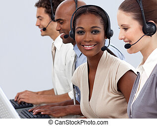 zakelijk, collegas, het tonen, calldesk, verscheidenheid