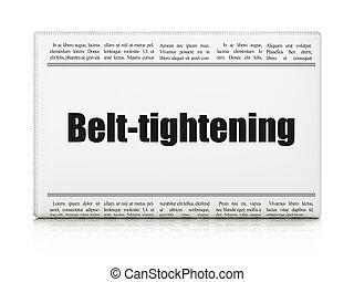 zakelijk, concept:, krant kop, belt-tightening
