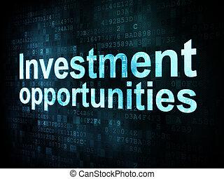 zakelijk, concept:, pixelated, woorden, investering, kansen,...