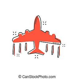 zakelijk, concept., schaaf, illustratie, spotprent, vliegtuig, gespetter, pictogram., komisch, style., vliegtuig, pictogram