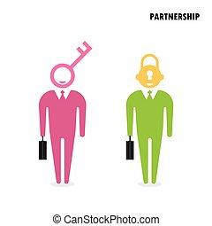 zakelijk, concept., symbool., oplossing, twee, klee, zakenman