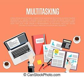 zakelijk, concept., werkruimte, multitasking, hoogste mening