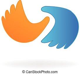 zakelijk, des, vector, handen, logo, pictogram