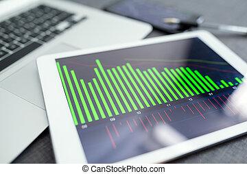 zakelijk, diagrammen, en, diagrammen, op, digitaal tablet