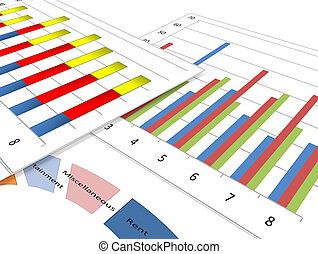 zakelijk, diagrammen, en, grafieken