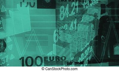 zakelijk, diagrammen, lus, eurobiljet