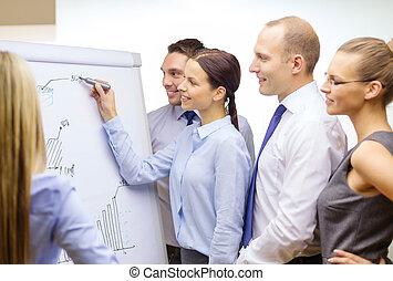 zakelijk, discussie, tik, plank, team, hebben