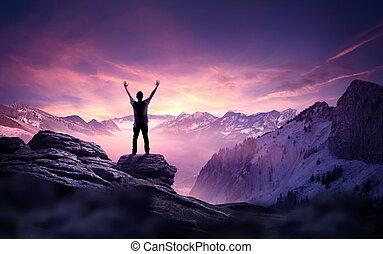 zakelijk, doelen, -, een, man, het reiken naar, de, hemel