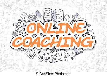 zakelijk, doodle, concept., -, text., coachend, online, sinaasappel