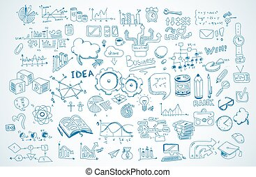 zakelijk, doodles, schets, set, :, infographics, communie,...