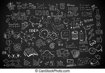 zakelijk, doodles, schets, set, :, infographics, communie, vrijstaand, vector, shapes.