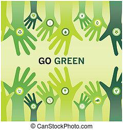zakelijk, eco, vriendelijk, juichen, groene, handen, gaan, wereld, duurzaam, of