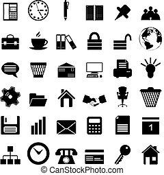 zakelijk, en, de pictogrammen van het bureau, set