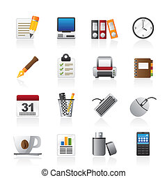 zakelijk, en, het materiaal van het bureau, iconen