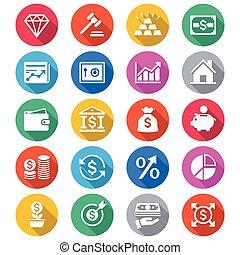 zakelijk, en, investering, plat, kleur, iconen