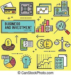 zakelijk, en, investering, vector