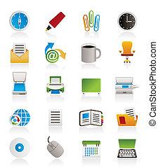zakelijk, en, kantoor, gereedschap, iconen