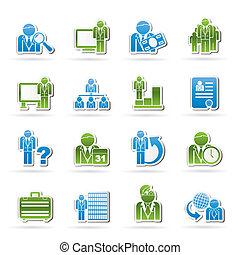 zakelijk, en, management, iconen
