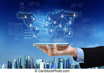 zakelijk, en, sociaal, netwerk
