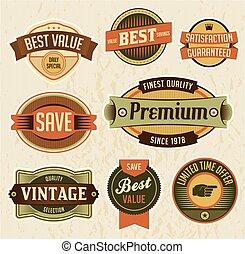 zakelijk, etiketten, retro, kentekens