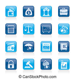 zakelijk, financiën, bank, iconen