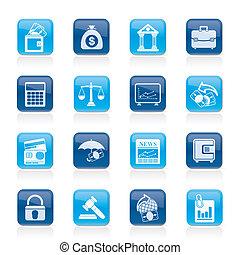 zakelijk, financiën, en, bank, iconen