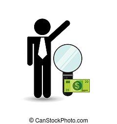 zakelijk, geld, grondig, ontwerp, digitale man