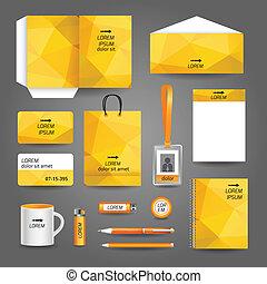 zakelijk, gele, mal, briefpapier, geometrisch, technologie