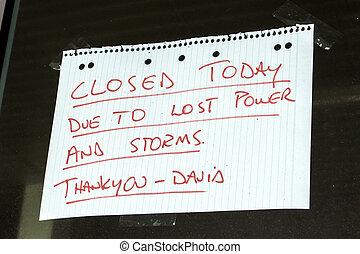 zakelijk, gesloten voorteken