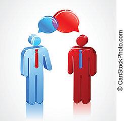zakelijk, gesprek, stok, iconen