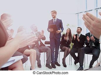 zakelijk, geven, spreker, busines, conference., collectief,...