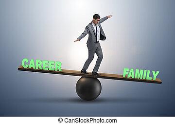 zakelijk, gezin, carrière, conc, het in evenwicht brengen, tussen, zakenman