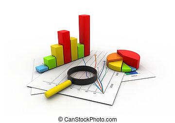 zakelijk, grafiek, analyzing