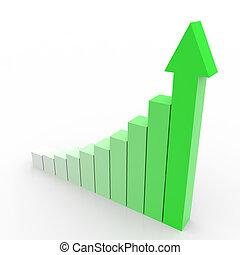 zakelijk, grafiek, met, het uitgaan, groene, arrow.