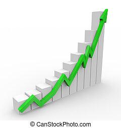 zakelijk, grafiek, met, het uitgaan, groene, richtingwijzer